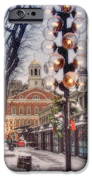 Tea Party iPhone Cases - Quincy Market Flurries iPhone Case by Joann Vitali