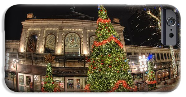 Tea Party iPhone Cases - Quincy Market Holiday Lights iPhone Case by Joann Vitali