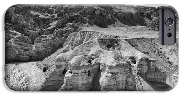 Ancient Scroll iPhone Cases - Qumran Caves BW iPhone Case by Stephen Stookey