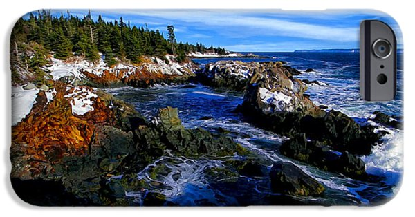 Snake iPhone Cases - Quoddy Coast with Snow iPhone Case by Bill Caldwell -        ABeautifulSky Photography