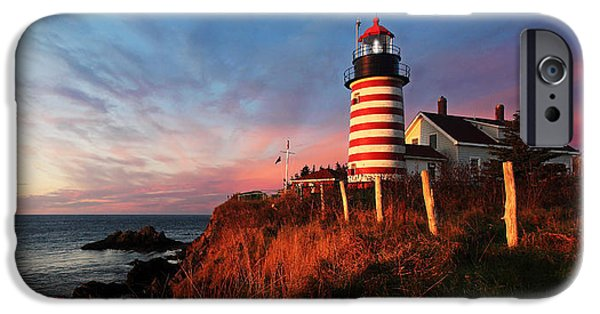 New England Lighthouse iPhone Cases - Quoddy Head at Sunrise iPhone Case by Bill Caldwell -        ABeautifulSky Photography