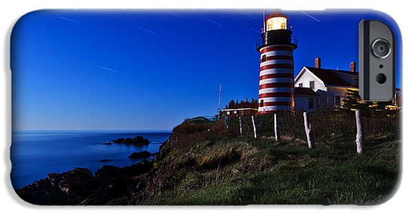 West Quoddy Head Lighthouse iPhone Cases - Quoddy Head by Moonlight Panorama iPhone Case by Bill Caldwell -        ABeautifulSky Photography