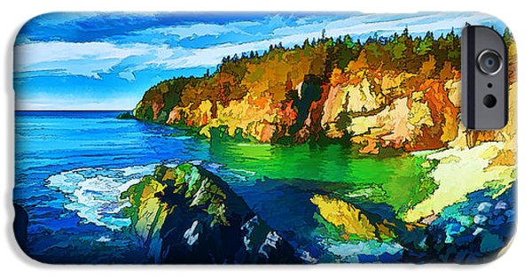Quoddy iPhone Cases - Quoddy Head Cove - Painterly iPhone Case by Bill Caldwell -        ABeautifulSky Photography