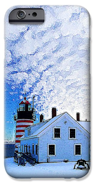 West Quoddy Head Lighthouse iPhone Cases - Quoddy Head Lighthouse in Winter 1 iPhone Case by Bill Caldwell -        ABeautifulSky Photography
