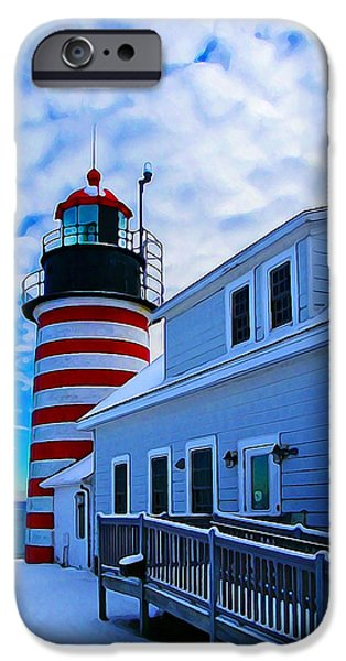 Coastal Decor Digital iPhone Cases - Quoddy Head Lighthouse in Winter 2 iPhone Case by Bill Caldwell -        ABeautifulSky Photography