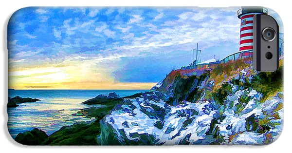New England Snow Scene iPhone Cases - Quoddy Head Lighthouse in Winter 3 iPhone Case by Bill Caldwell -        ABeautifulSky Photography