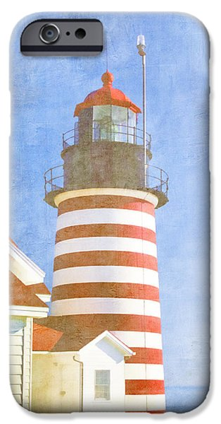 West Quoddy Head Lighthouse iPhone Cases - Quoddy Lighthouse Lubec Maine iPhone Case by Carol Leigh