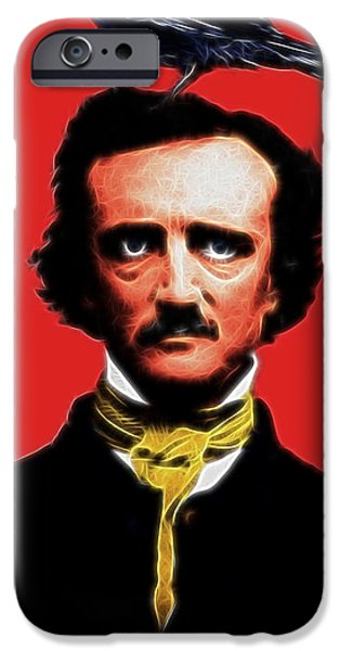 Quoth The Raven Nevermore - Edgar Allan Poe - Electric iPhone Case by Wingsdomain Art and Photography