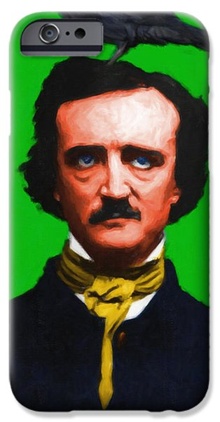 Quoth The Raven Nevermore - Edgar Allan Poe - Painterly - Green - With Text iPhone Case by Wingsdomain Art and Photography