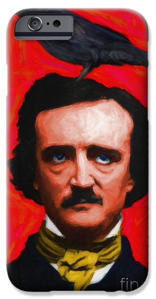 Wing Tong Digital iPhone Cases - Quoth The Raven Nevermore - Edgar Allan Poe - Painterly - Red - Standard Size iPhone Case by Wingsdomain Art and Photography