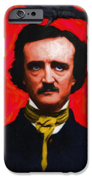 Quoth The Raven Nevermore - Edgar Allan Poe - Painterly iPhone Case by Wingsdomain Art and Photography