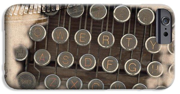 Typewriter Keys iPhone Cases - QWERTY Old Style iPhone Case by Kae Cheatham