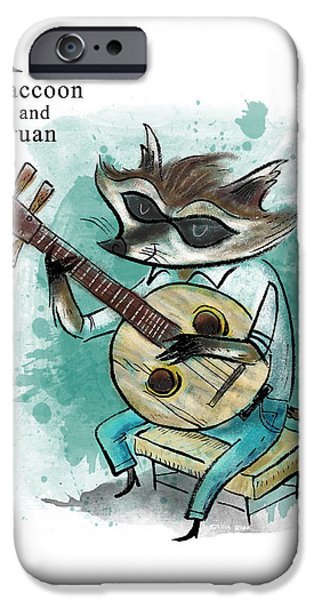 Animal Alphabet iPhone Cases - R is for Raccoon iPhone Case by Sean Hagan