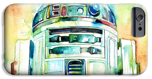 Portrait Paintings iPhone Cases - R2-d2 Watercolor Portrait iPhone Case by Fabrizio Cassetta