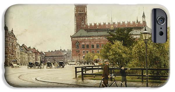 Mid Adult iPhone Cases - Raadhuspladsen, Copenhagen, 1893 Oil On Canvas iPhone Case by Paul Fischer