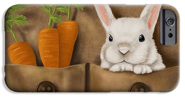 Digital Paintings iPhone Cases - Rabbit hole iPhone Case by Veronica Minozzi