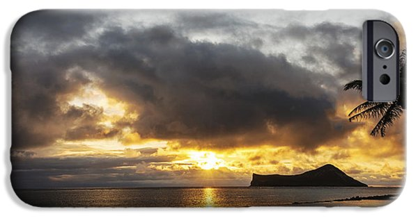 Morning iPhone Cases - Rabbit Island Sunrise - Oahu Hawaii iPhone Case by Brian Harig