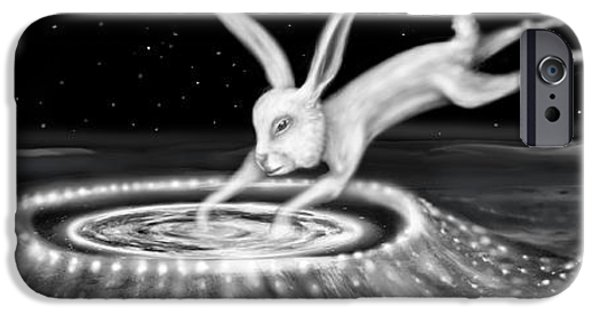 Moonscape iPhone Cases - Rabbit on the Moon iPhone Case by Jerod  Kytah