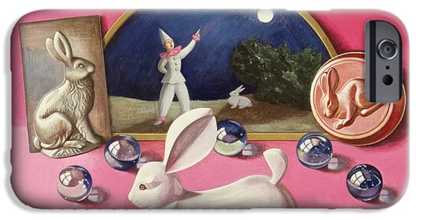 Model iPhone Cases - Rabbits And The Moon Wc On Paper iPhone Case by Tomar Levine