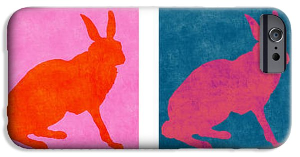 Rabbit iPhone Cases - Rabbits Four Across iPhone Case by Carol Leigh