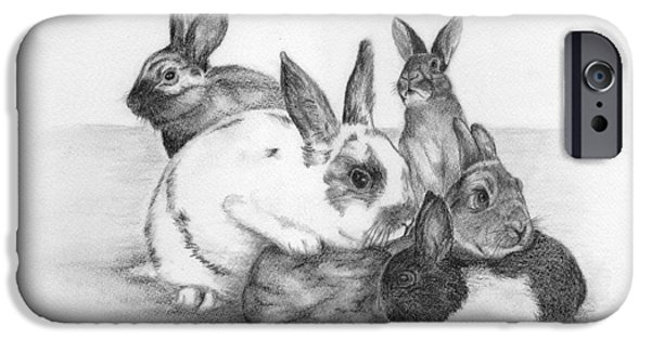 Minnesota Drawings iPhone Cases - Rabbits Rabbits and more Rabbits iPhone Case by Nan Wright