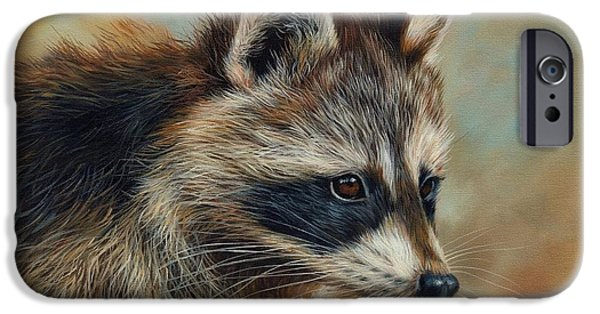 Raccoon iPhone Cases - Raccoon iPhone Case by David Stribbling