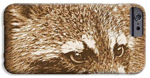 Raccoon Digital Art iPhone Cases - Raccoon in Sepia 1 iPhone Case by Sheri McLeroy