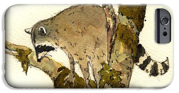 Raccoon iPhone Cases - Raccoon on a tree iPhone Case by Juan  Bosco