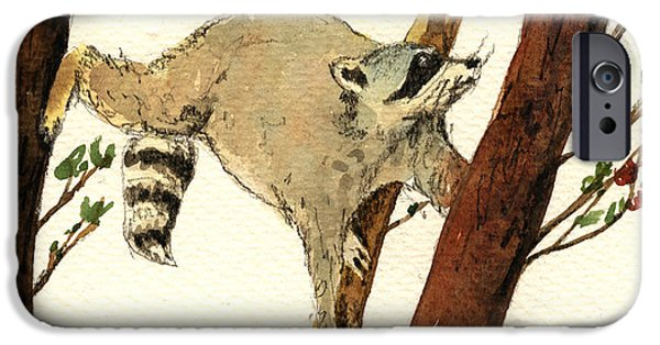 Raccoon iPhone Cases - Raccoon on tree iPhone Case by Juan  Bosco
