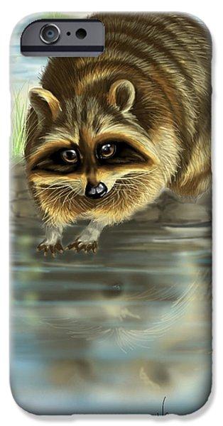 Raccoon Digital Art iPhone Cases - Raccoon iPhone Case by Veronica Minozzi