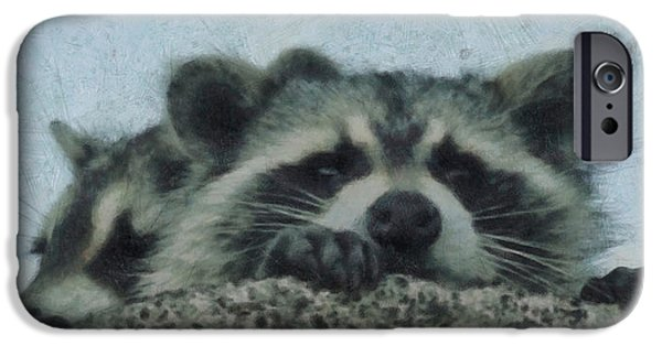Raccoon iPhone Cases - Raccoons Painterly iPhone Case by Ernie Echols