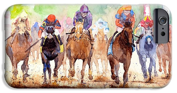 Horse Racing iPhone Cases - Race Day iPhone Case by Max Good