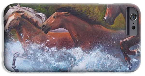 Chatham Paintings iPhone Cases - Race For Freedom iPhone Case by Karen Kennedy Chatham