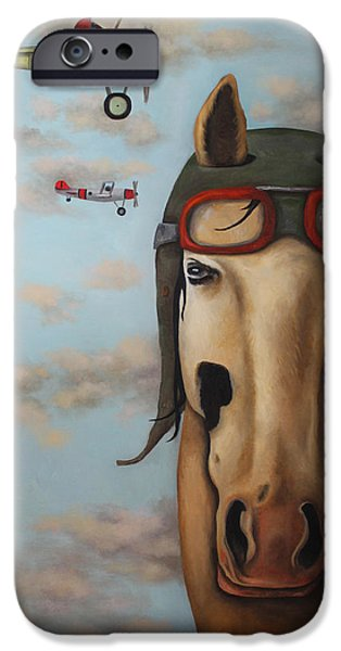 Horse Racing iPhone Cases - Race Horse iPhone Case by Leah Saulnier The Painting Maniac