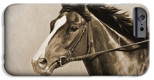 Race Horse iPhone Cases - Race Horse Old Photo FX iPhone Case by Crista Forest
