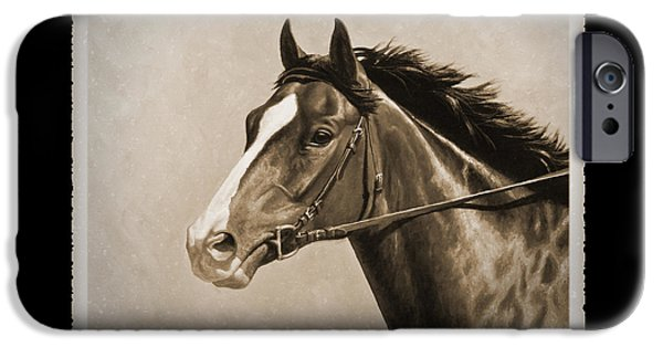 Old Photos iPhone Cases - Race Horse Old Photo FX iPhone Case by Crista Forest