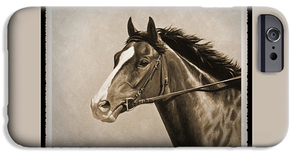 Race Horse Paintings iPhone Cases - Race Horse Old Photo FX iPhone Case by Crista Forest