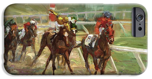 Horse Race iPhone Cases - Race Horses iPhone Case by Laurie Hein