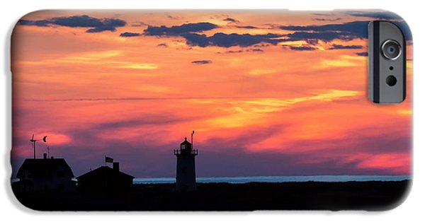 New England Lighthouse iPhone Cases - Race Point Light Sunset Square iPhone Case by Bill  Wakeley