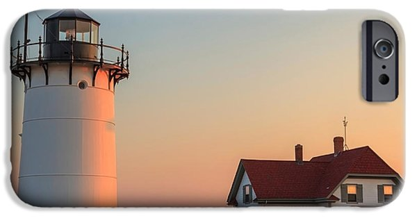 New England Lighthouse iPhone Cases - Race Point Lighthouse Square iPhone Case by Bill  Wakeley