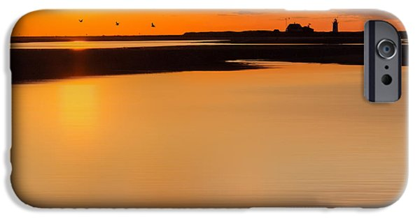 New England Lighthouse iPhone Cases - Race Point Silhouette Square iPhone Case by Bill  Wakeley