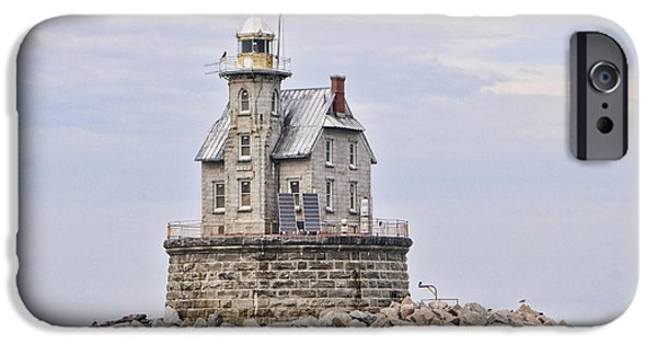 Ledge iPhone Cases - Race Rock Lighthouse iPhone Case by Phyllis Taylor
