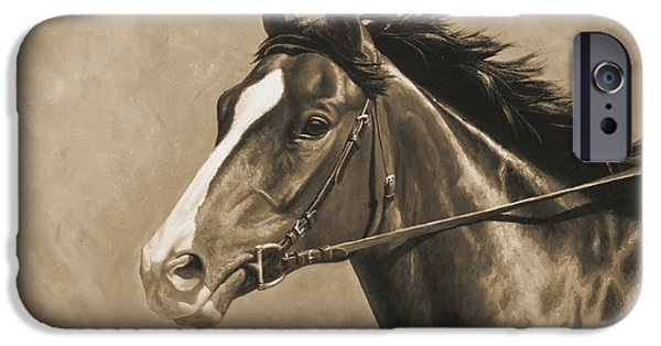 Race Horse Paintings iPhone Cases - Racehorse Painting In Sepia iPhone Case by Crista Forest