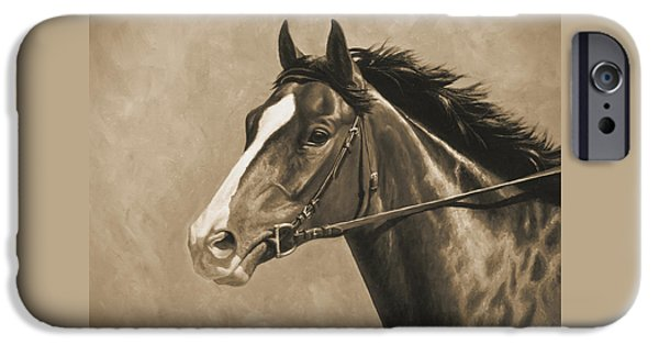 Race Horse iPhone Cases - Racehorse Painting In Sepia iPhone Case by Crista Forest