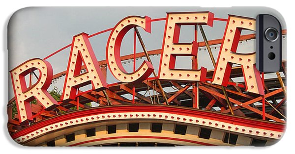Amusements iPhone Cases - Racer Coaster Kennywood Park iPhone Case by Jim Zahniser