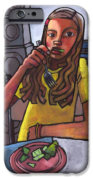 Figure iPhone Cases - Rachel Eating Salad by Toms Speakers iPhone Case by Douglas Simonson