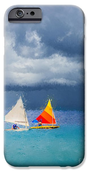 Sailboat Ocean Digital Art iPhone Cases - Racing a Caribbean Storm iPhone Case by Betty LaRue