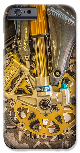 Shock iPhone Cases - Racing Bike Wheel with Brembo Brakes and Ohlins Shock Absorbers iPhone Case by Ian Monk