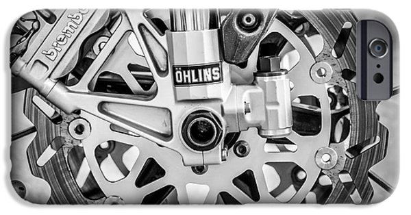 Shock iPhone Cases - Racing Bike Wheel with Brembo Brakes and Ohlins Shock Absorbers - Square - Black and White iPhone Case by Ian Monk