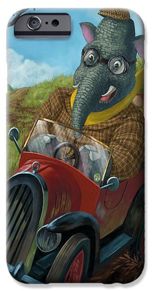 Kids Sports Art iPhone Cases - Racing Car Animals iPhone Case by Martin Davey